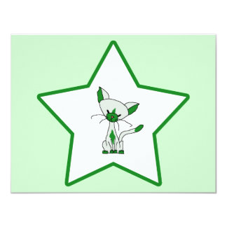 Green Lucky Star - Lucky the Cat Card