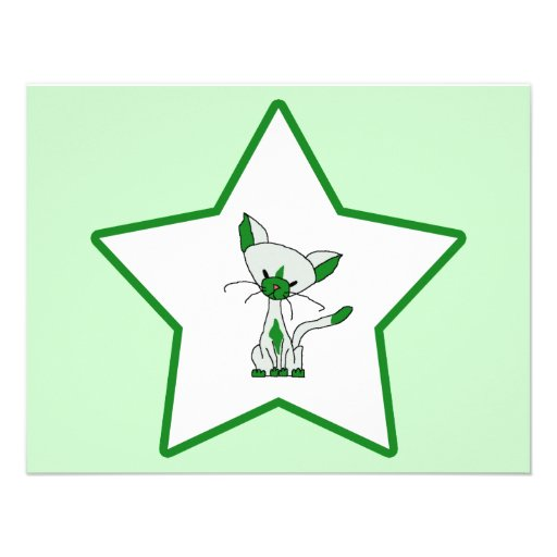 Green Lucky Star - Lucky the Cat Personalized Invitation
