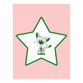 Green Lucky Star - Lucky the Cat Postcard