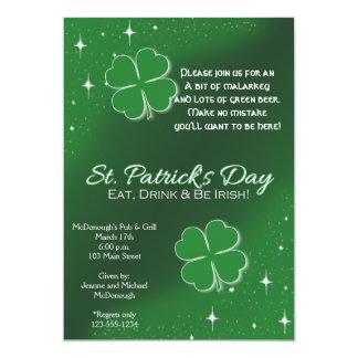 Green Lucky Stars St Patricks Day Party Invitation