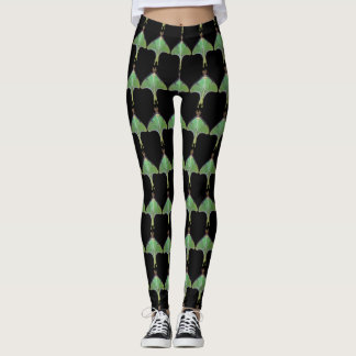Green Luna Moth Abstract Pattern Leggings
