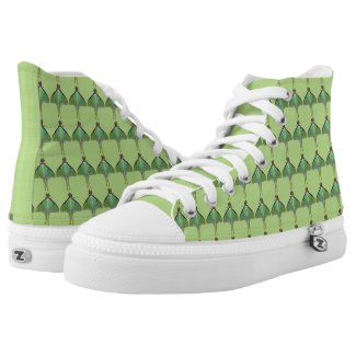 Green Luna Moth High Top Printed Shoes