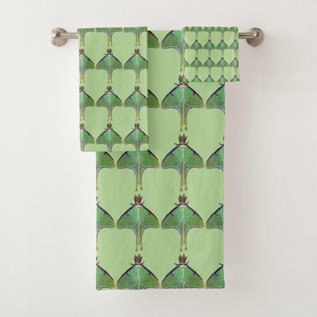 Green Luna Moth Pattern Towel Set