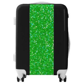 Green Luxury Diamond Glitter Luggage