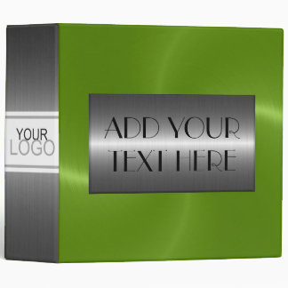 Green Luxury Stainless Metallic Metal Look 3 Ring Binder