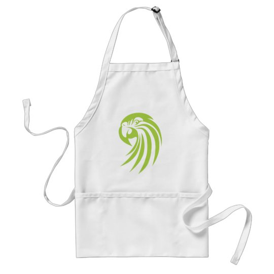 Green Macaw Parrot in Swish Drawing Style Adult Apron
