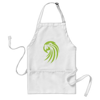 Green Macaw Parrot in Swish Drawing Style Apron