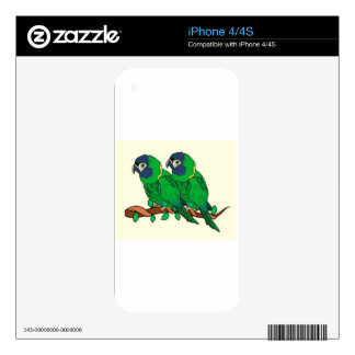 green macaw parrot love art skin for iPhone 4S