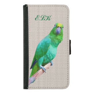 Green Macaw Parrot on a Limb, Monogram