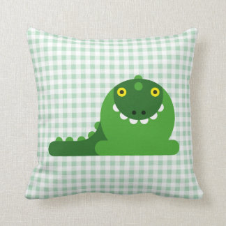 Green Mad Dragon Throw Pillow