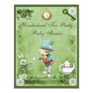 Green Mad Hatter Wonderland Tea Party Baby Shower 4.25x5.5 Paper Invitation Card
