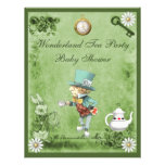 Green Mad Hatter Wonderland Tea Party Baby Shower Personalized Announcements