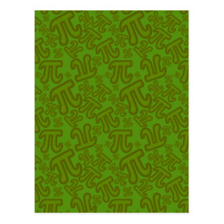 Green madness of numbers pi postcard
