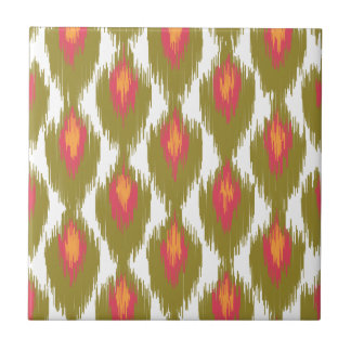 Green Magenta Abstract Tribal Ikat Diamond Pattern Ceramic Tile