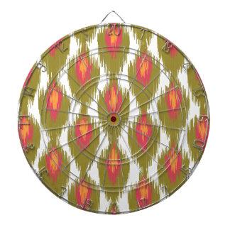 Green Magenta Abstract Tribal Ikat Diamond Pattern Dartboard With Darts