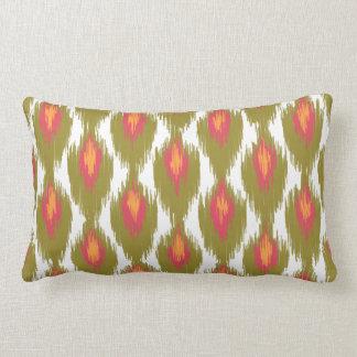 Green Magenta Abstract Tribal Ikat Diamond Pattern Lumbar Pillow
