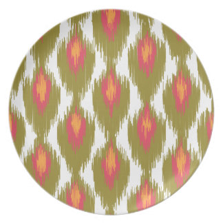 Green Magenta Abstract Tribal Ikat Diamond Pattern Plate