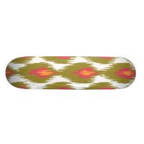 Green Magenta Abstract Tribal Ikat Diamond Pattern Skateboard Deck