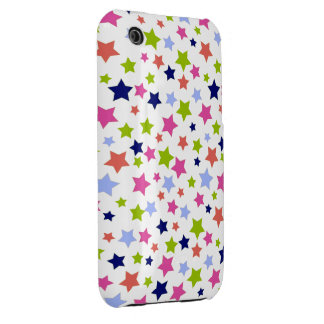 Green Magenta and Blue star pattern on White Case-Mate iPhone 3 Case