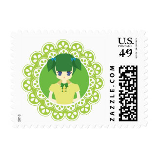 Green Maid Girl Illustration Postage Stamp