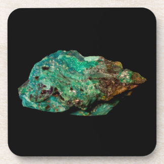 Green Malachite Mineral Photo on Black Background Coaster
