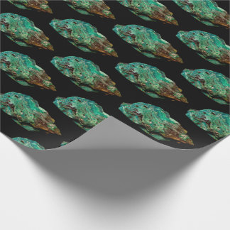 Green Malachite Mineral Photo on Black v2 Wrapping Paper