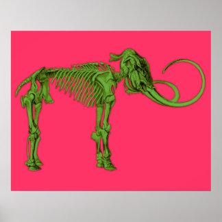Green Mammoth Skeleton Print