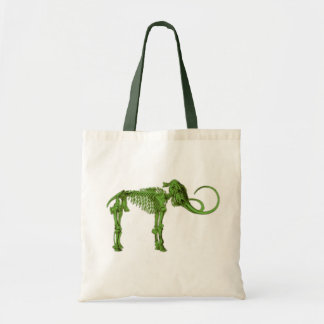 Green Mammoth Skeleton Tote Bag