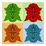 Green Man Four Faces Poster