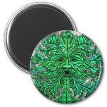 Green Man Gaze 2 Inch Round Magnet