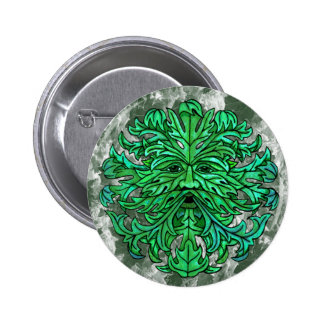 Green Man Gaze Pinback Button