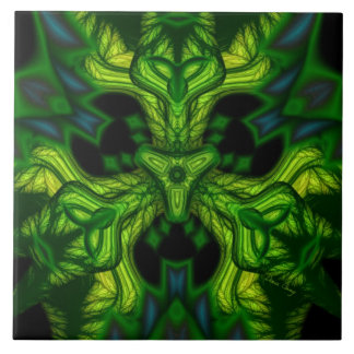 Green Man Goblin – Emerald and Gold Mask Ceramic Tile
