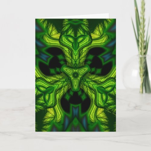 Green Man Goblin – Emerald and Gold Mask Holiday Card
