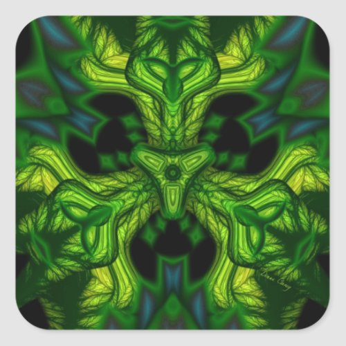Green Man Goblin – Emerald and Gold Mask Square Sticker