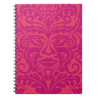 Green Man in 2 tones of Pink Spiral Notebook