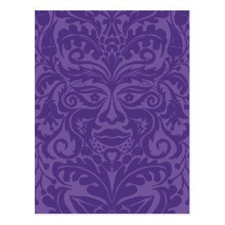 Green man in 2 tones of Purple Postcard