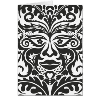 Green Man in Black and White Card