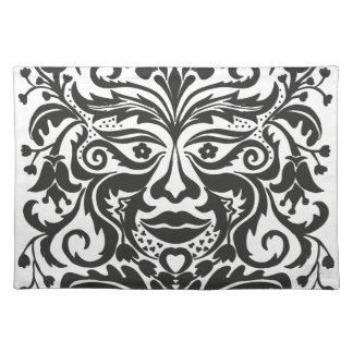Green Man in Black and White Placemat