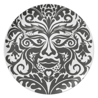 Green Man in Black and White Plate