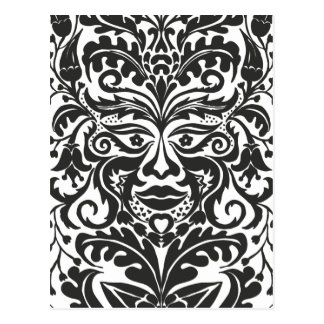 Green Man in Black and White Postcard