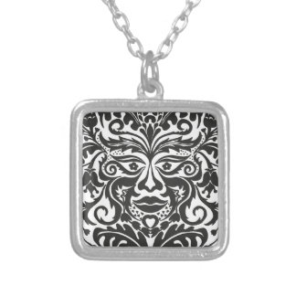 Green Man in Black and White Silver Plated Necklace