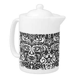 Green Man in Black and White Teapot