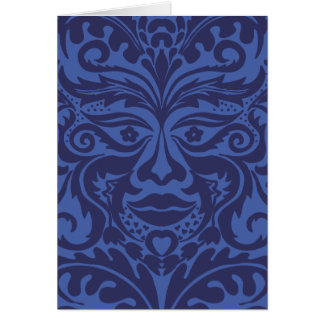 Green Man in Blues and white Card