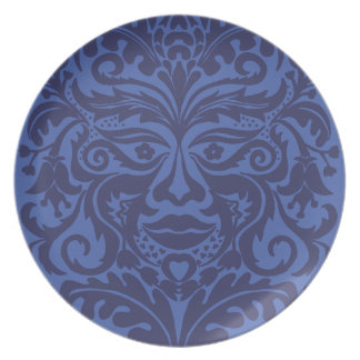 Green Man in Blues and white Melamine Plate