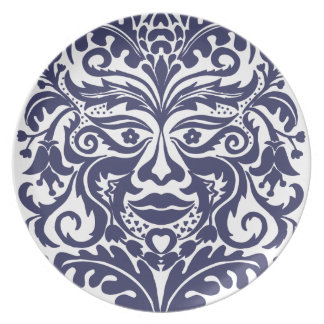 Green Man in Blues and white Plate