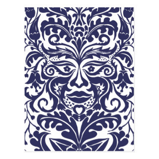 Green Man in Blues and white Postcard
