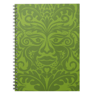 Green Man in Green and White Spiral Notebook