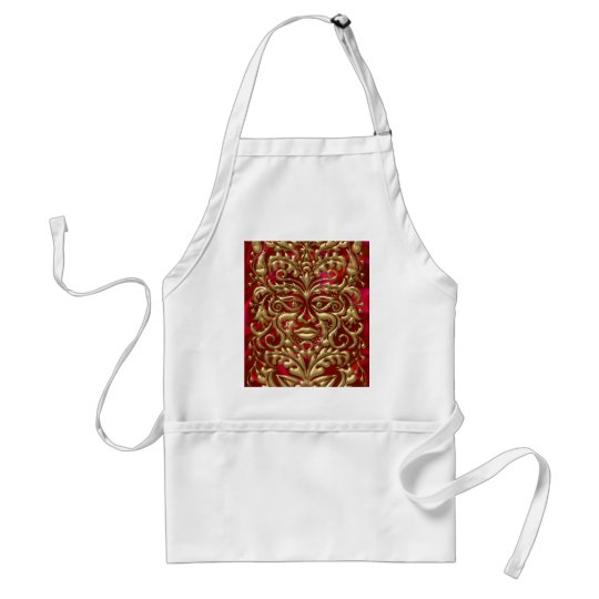 Green Man in liquid gold damask on red satin print Adult Apron