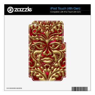 Green Man in liquid gold damask on red satin print iPod Touch 4G Decals