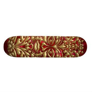 Green Man in liquid gold damask on red satin print Skateboard Deck